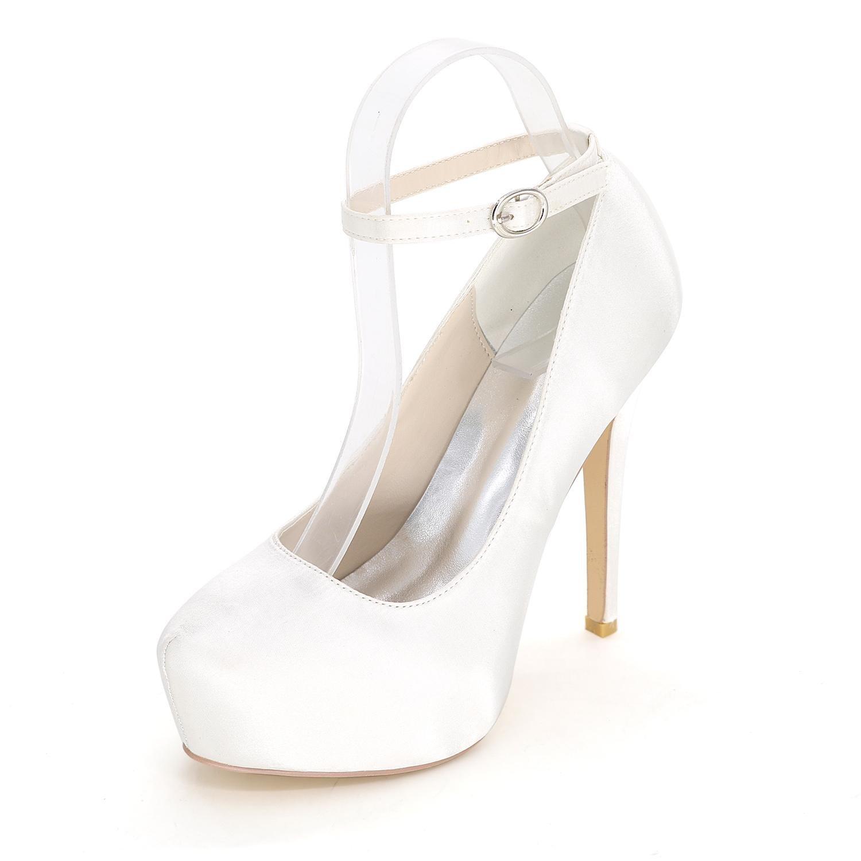 L@YC Sandalias De Mujer / Tacones altos / Verano / OtoñO De Boda De SatéN / Partido Y La Noche CóDigo De Varios Colores 37 White