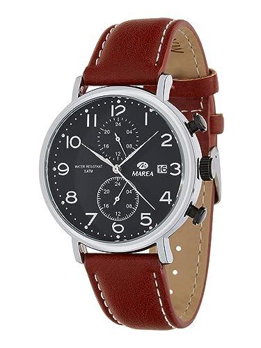 Reloj MAREA B21172/2 - Reloj hombre mutifunción, esfera negra y correa de piel marrón.: Amazon.es: Relojes