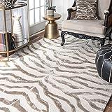 nuLOOM 200ZF5-305 Handmade Zebra Brown/Ivory Faux Silk/Wool Rug (3-Feet X 5-Feet)