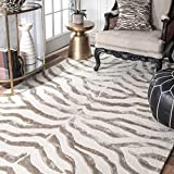 nuLOOM ZF5-406 Madagascar Collection 50-Percent Wool, 50-Percent Viscose Area Rug, 4-Feet by 6-Feet, Animal, Grey
