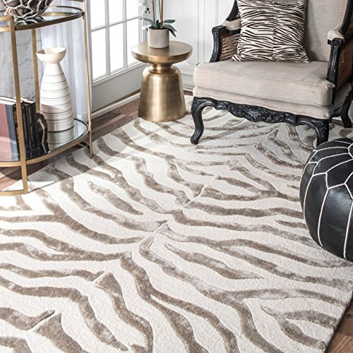Zebra Rug Wool - nuLOOM ZF5 Hand Tufted Plush Zebra Wool Rug, 4' x 6', Grey