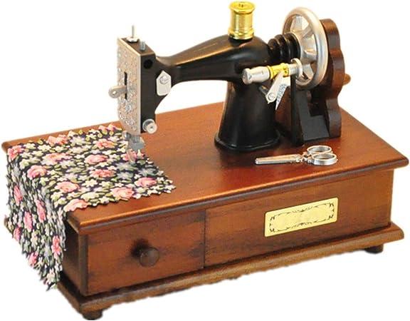 Kuingbhn Caja de música Máquina de Coser Vintage Madera Caja de ...
