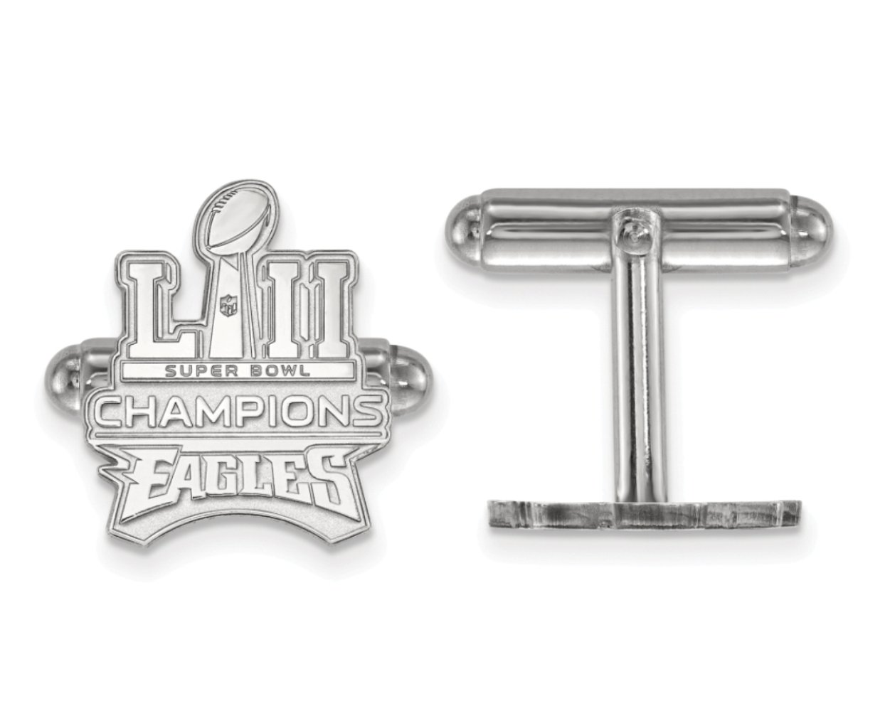 Sterling Silver Philadelphia Eagles Super Bowl LII Champions Bullet back Cuff Links