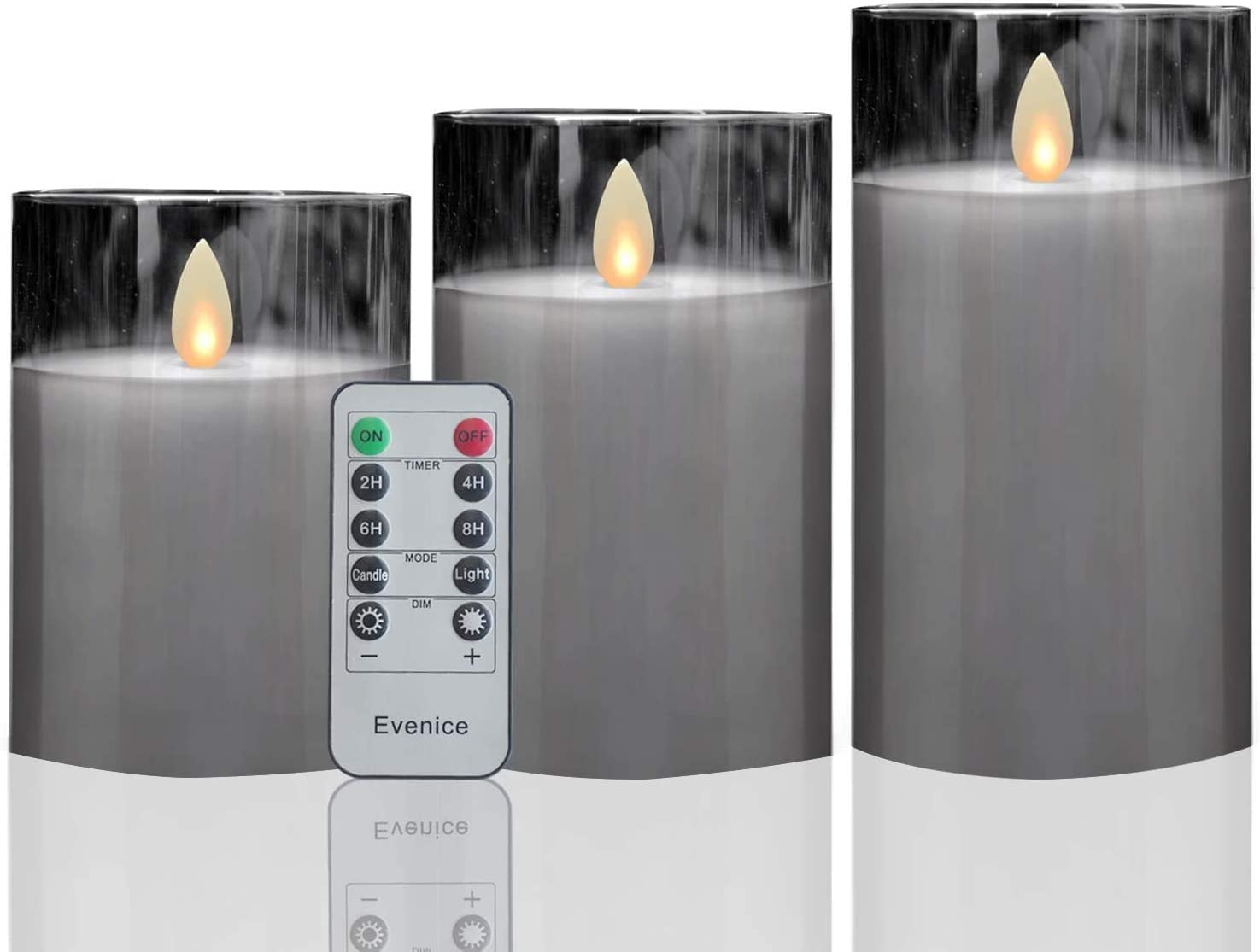 Set of 3 Grey Glass Flickering Flameless Candles ,Battery Operated Real Wax Candles with Timer and 10-Key Remote