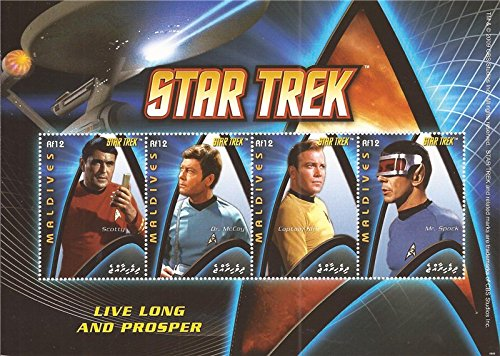 Maldives - 2009 Star Trek Kirk Spock - 4 Stamp Sheet -13E-485 #2971