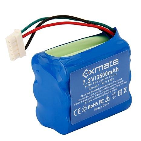 Exmate 7,2V 3500mAh Ni-MH Batería para iRobot Braava 380T, Braava 380