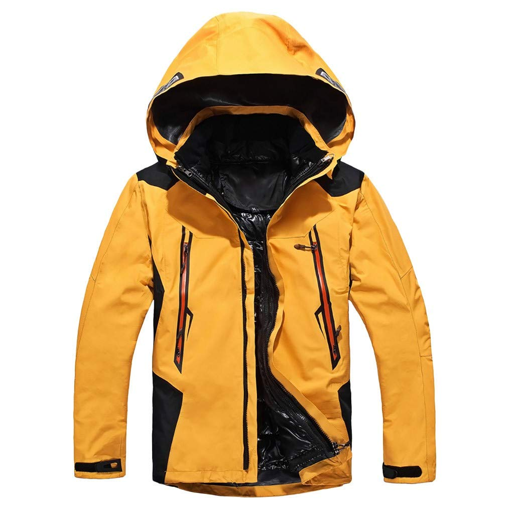 Botrong Men Winter Hooded Softshell Windproof Waterproof Soft Coat Shell Jacket (Yellow,M) by Botrong