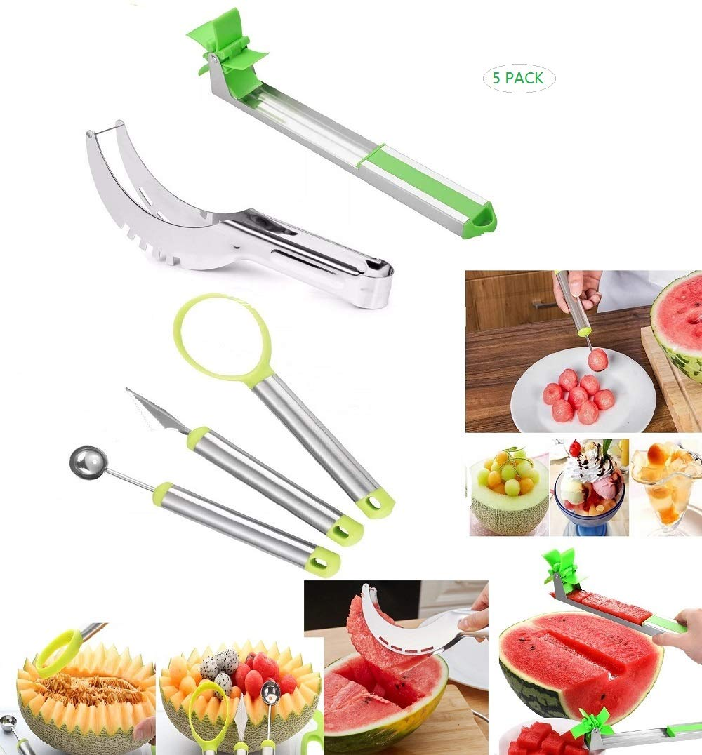 5 Pack Watermelon Windmill Cutter Slicer Kit,Stainless Steel Fruit Melon Baller, Fruit Slicer Carving Knife,Dig Fruit Pulp Scoop Separator and Corer Cutter Knife Tongs by yimo