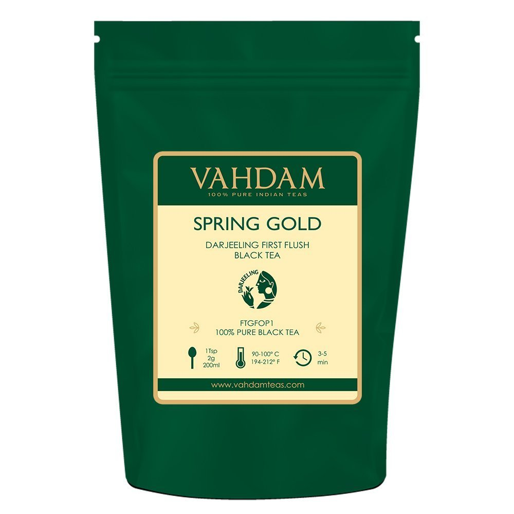 VAHDAM, Summer Gold Darjeeling Second Flush (50 Cups) | STRONG & ROBUST DARJEELING TEA Loose Leaf | 100% PURE UNBLENDED Black Tea Loose Leaf | Brew as Hot Tea, Iced Tea or Latte | 3.53oz
