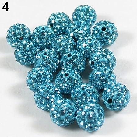 display08 20Pcs 10mm Czech Rhinestones Pave Clay Round Disco Ball Spacer Beads Craft Black