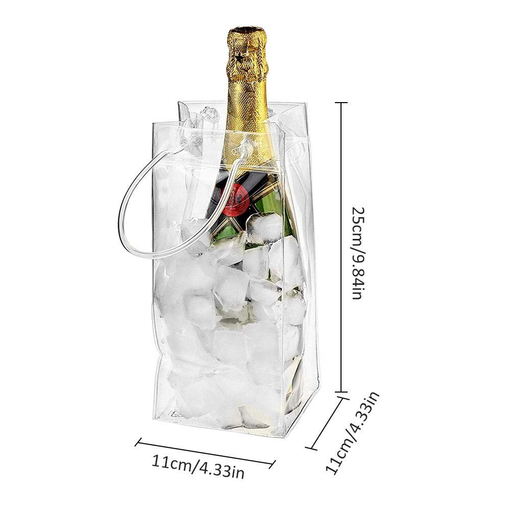 2 Sacchetti per Il Ghiaccio in PVC Trasparenti 25 x 11 cm with Printing per Champagne bestlle Vino con Maniglia per Il Trasporto a Prova di perdite ecologici