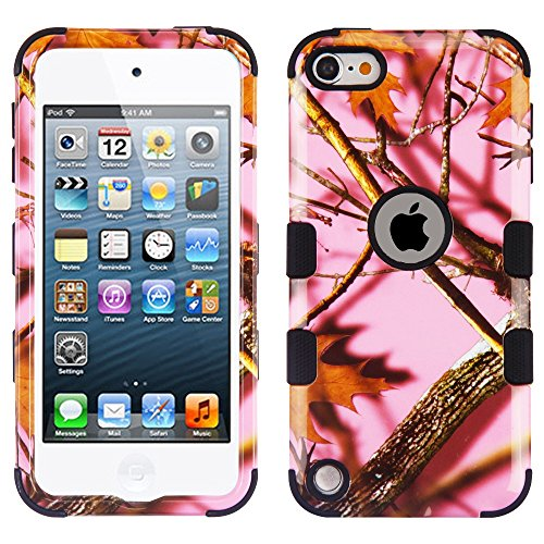 MYTURTLE Shockproof Hybrid Case Hard Silicone Shell High Impact Cover with Stylus Pen and Screen Protector for iPod Touch 5th 6th Generation, Camouflage Vine - 4 Camo Case Ipod Lifeproof