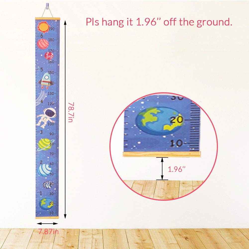 Wood Frame Fabric Canvas Removable Wall Ruler Wall Decor for Toddlers Boys and Girls Baby Height Chart Child Hanging Height Measurement Wall Charts Robot Pattern Atomcool Growth Chart for Kids