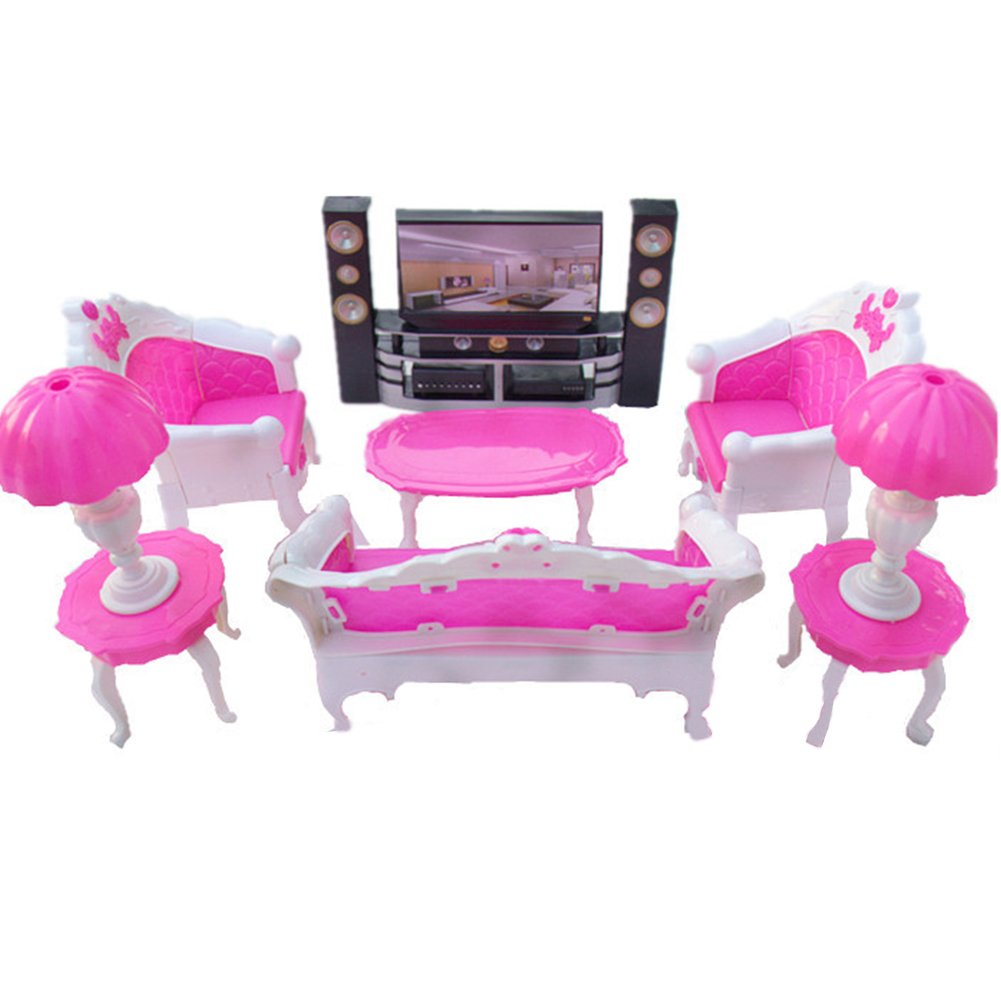 Amyove Dolls Accessories Pretend Play Furniture Set Toys for Barbie Dolls as Xmas Gifts for Kids Parent-child communication bridge