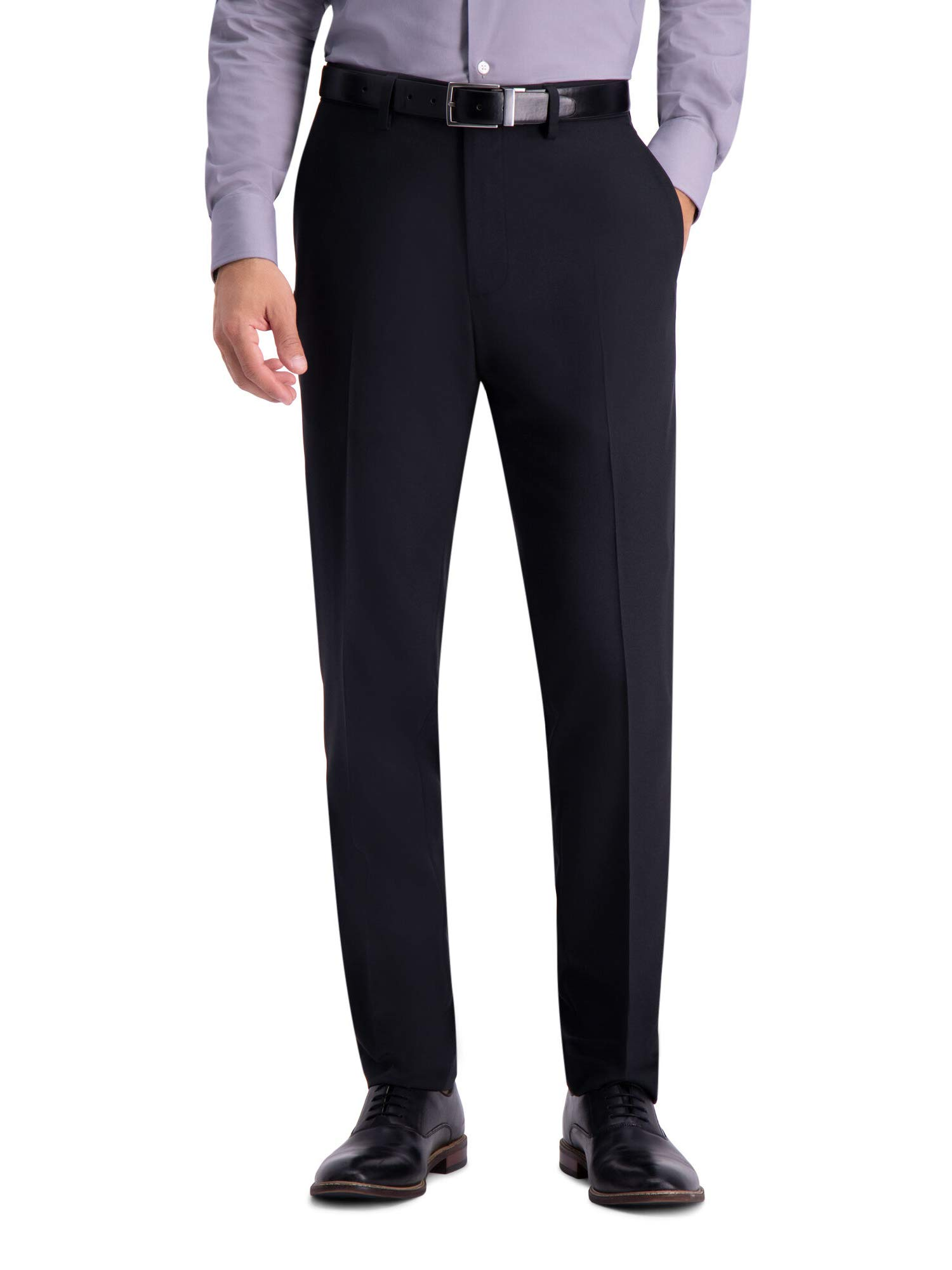Haggar Men's Active Series Herringbone Suit Pant, Black - 34W x 29L by Haggar