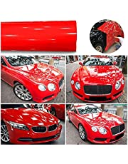 1roll superglans rode vinylfilm auto wraps auto glanzende rode folie auto wrap film voertuig sticker 30 x 152cm auto DIY decoratie sticker