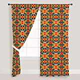 AZ Tribal Art Door & Window Curtain Satin 4feet x 6feet; SET OF 3 PCS