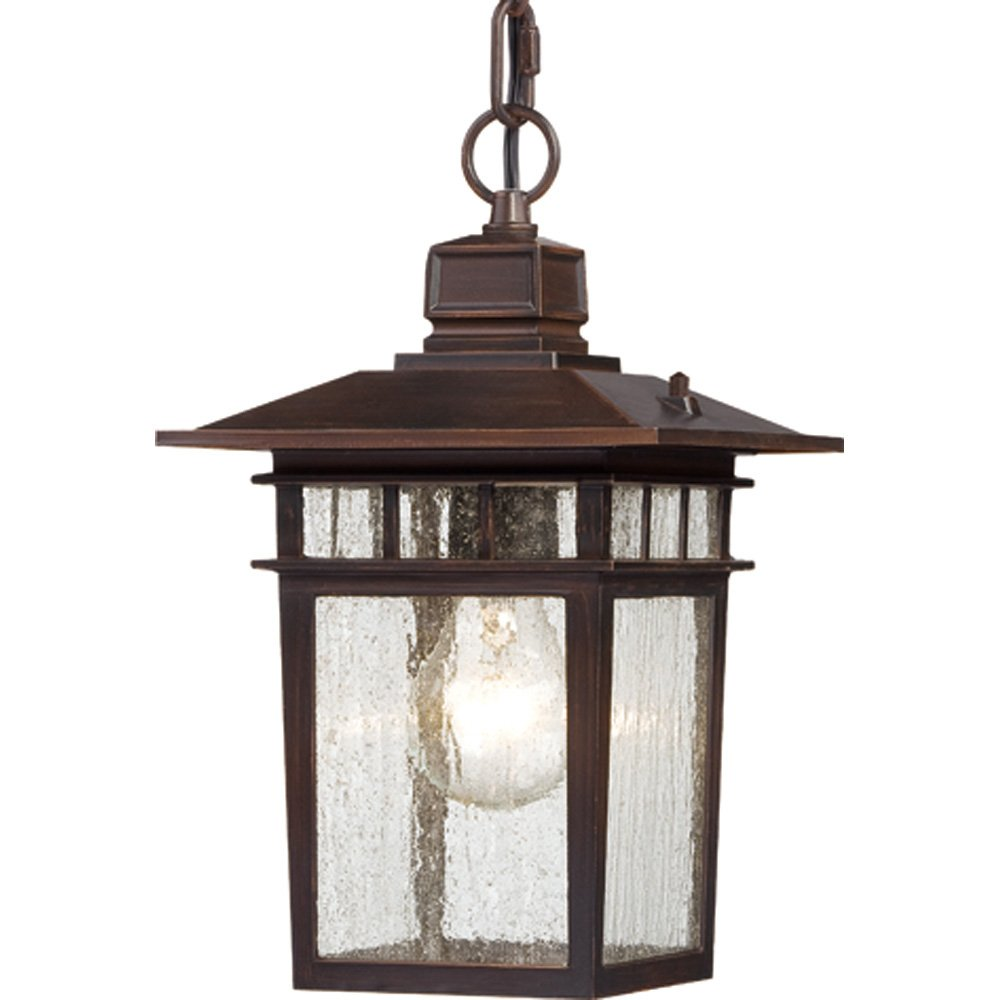 Nuvo Lighting 60/4955 Cove Neck One Light Hanging Lantern 100 Watt A19 Max. Clear Seeded Glass Rustic Bronze Outdoor Fixture by Nuvo Lighting