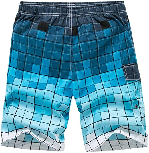Vickyleb Mens Beach Shorts Casual Patchwork Solid Pants Quick Dry Trunks Summer Surfing Swimwear with Pocket Drawstring
