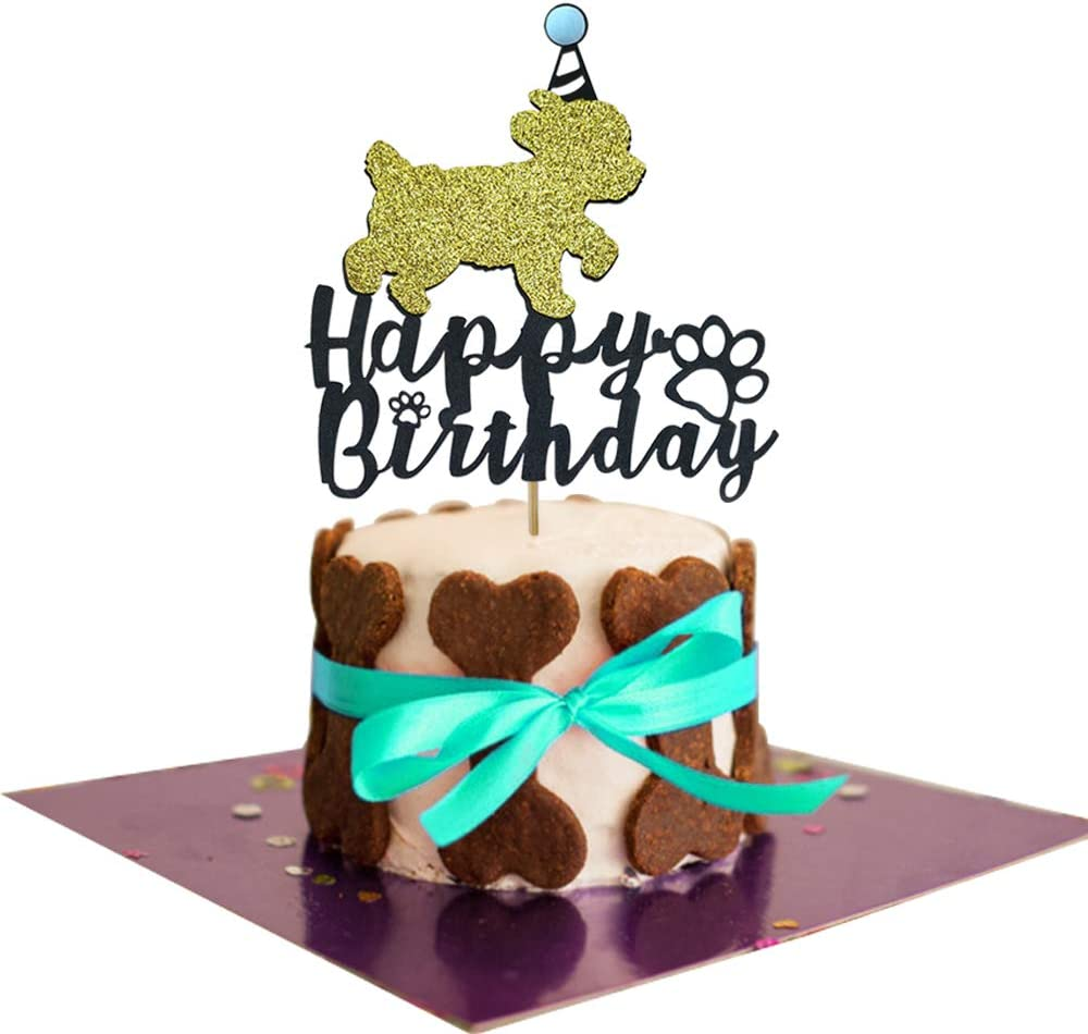 Remarkable Amazon Com 1 Set Glitter Dog Happy Birthday Cake Topper Cake Personalised Birthday Cards Arneslily Jamesorg