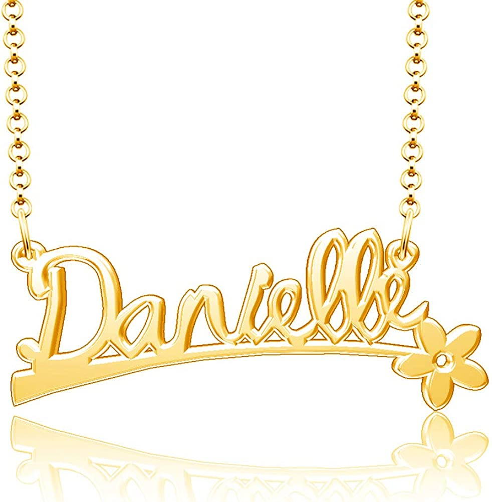 Infinite Memories 925 Sterling Silver Personalized Name Plate Customize Flower Pendant Danielle Name Necklace