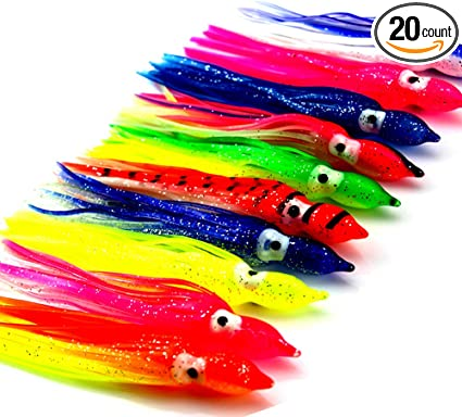 "45 NEW Soft Trolling Big Game Lure Bait Skirt 3/"" Lures"