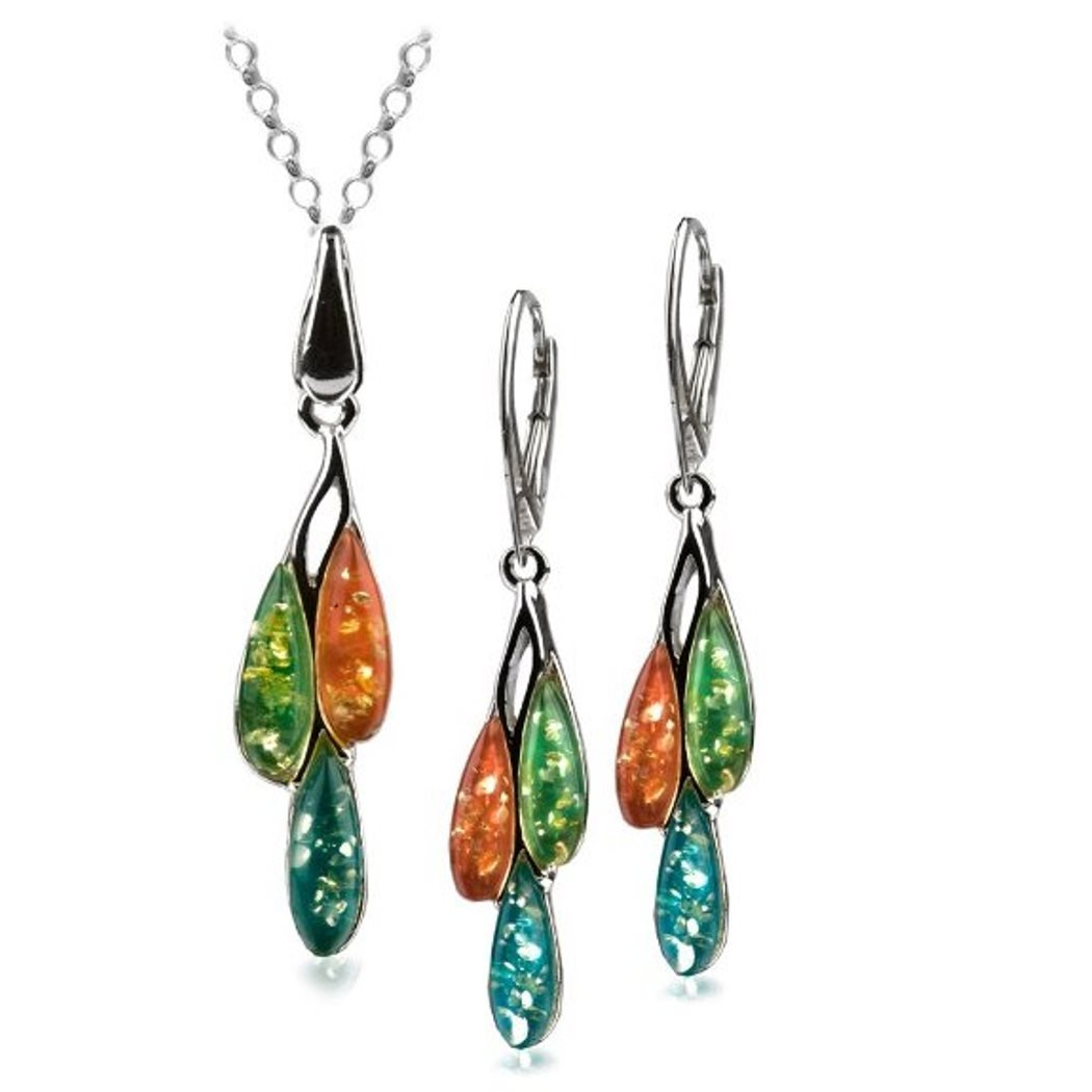 Sterling Silver Multicolor Amber Dreams Necklace Earrings Set 18 Inches by Amber by Graciana
