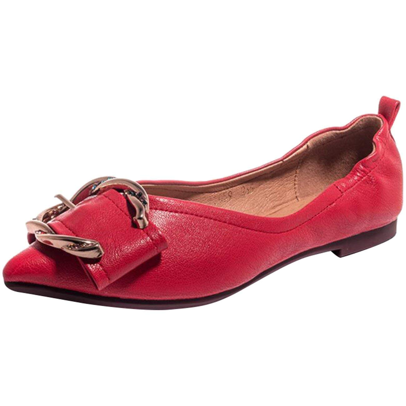 HhGold Woherren Woherren Woherren Pointed-Toe Flache Slip-on Metall Diamond Ballerinas (Farbe   Rot Größe   5 UK) aa6da2