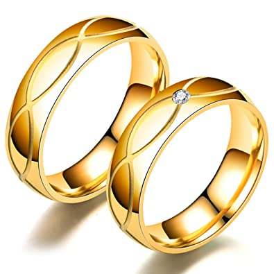 e4f6b65605b6a Peora 18K Gold Plated Designer Engagement Solitaire Couple Band Rings for  Women Men