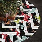 AHOOCUSTOM Merry Christmas Tree Skirt Cute Black