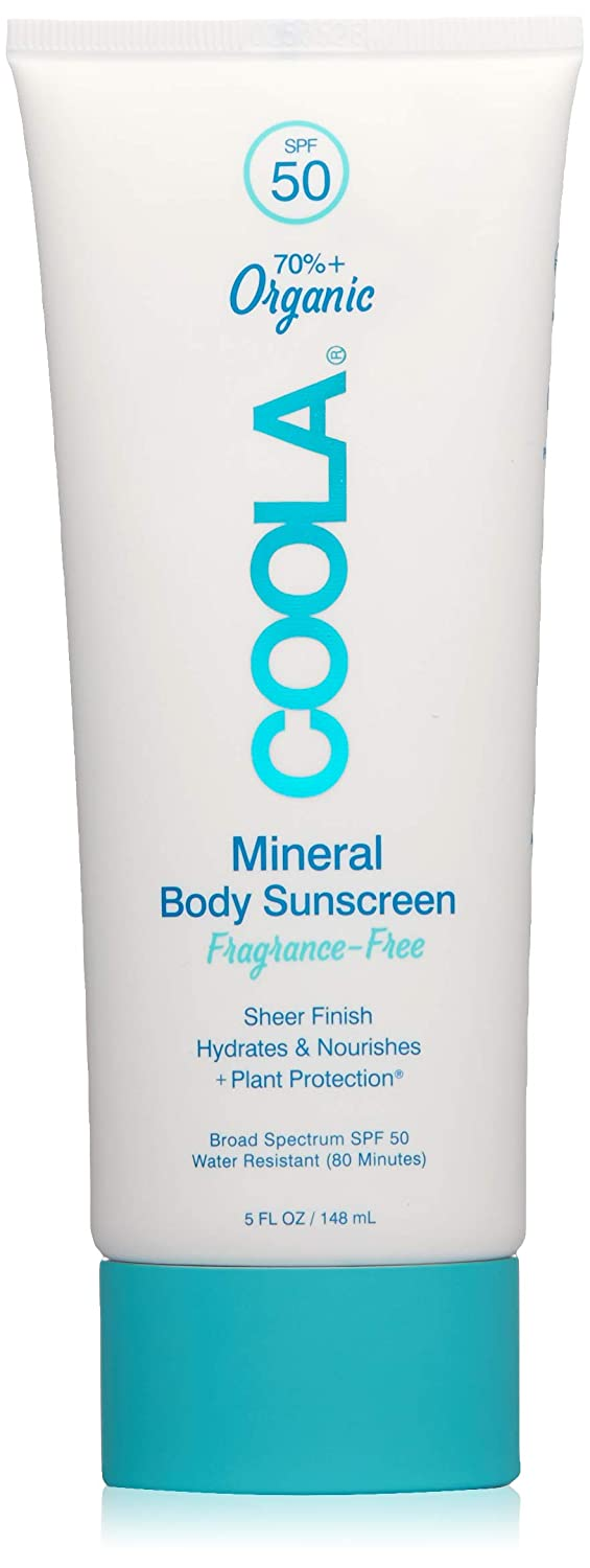 COOLA Organic Mineral Body Sunscreen, SPF 50 | Vegan, Gluten-Free, Non-Greasy, Water-Resistant, Lightweight | Fragrance-Free | 5.0 OZ