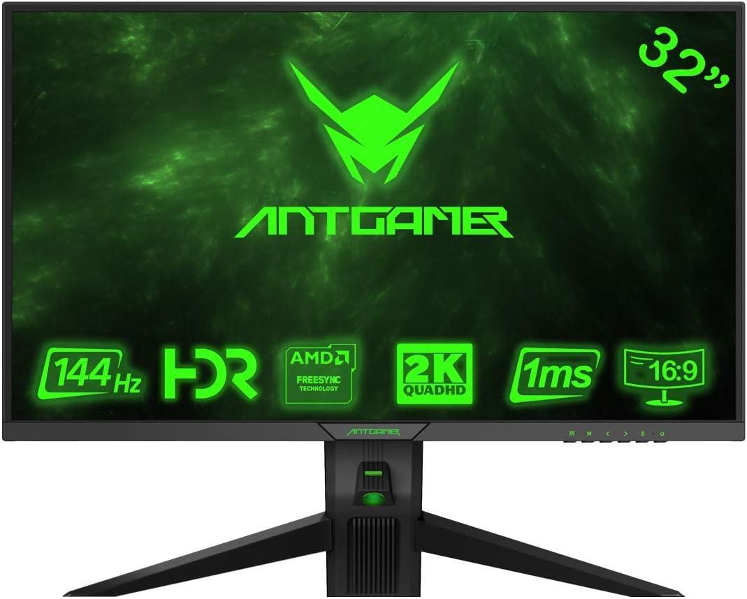 ANTGAMER Gaming M32G5Q Monitor Curvo R1800 de 83,82 cm (32 Pulgadas) (QHD, Tiempo de Respuesta de 1 ms, HDMI, DVI, DisplayPort, 144 Hz, 2560x1440 píxeles, sincronización Libre) Negro: Amazon.es: Electrónica