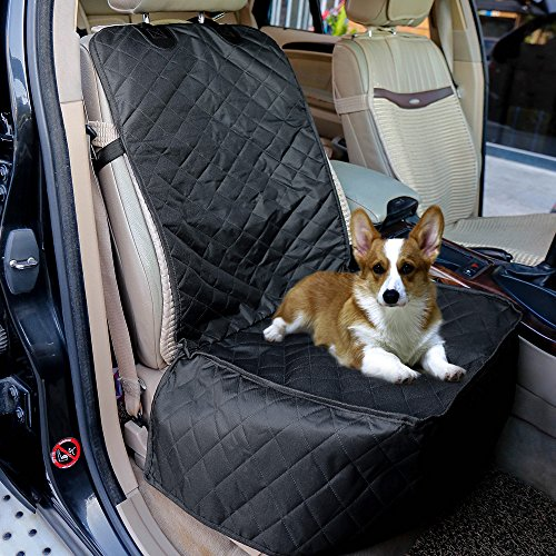 FENGRUIL Dog Front Seat Cover for Cars Nonslip and Waterproof Backing with Anchors/Quilted/Padded Pet Bench Car Seat Protector Covers for Bucket Seat Trucks & SUVs (Front)