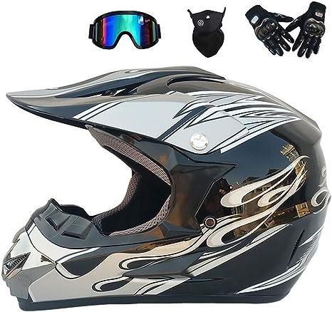 PKFG Mopedhelm Motocross Helm Herren Serie HM-716 Motorradhelm Set Damen Fullface Motorrad DH Cross Offroad Enduro Quad Mountainbike Helme mit Visier Brille Handschuhe Maske
