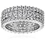 Three Sterling Silver Cubic Zirconia Stacking Eternity Ring Band Set, Size 7