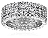 Sterling Silver Cubic Zirconia Eternity Band Stacking Rings (Set of 3), Size 6