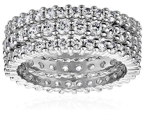 Sterling Silver Cubic Zirconia Eternity Band Stacking Rings (Set of 3), Size 6 by Amazon Collection