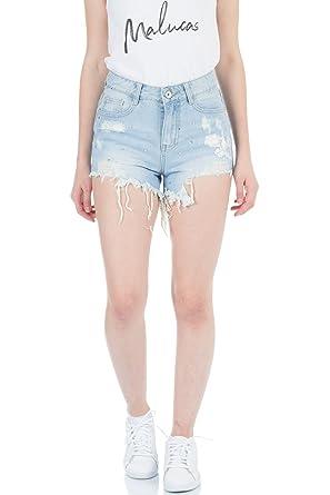 b30b902ddadda7 Malucas Damen Jeans High Waist Kurze Hose Shorts Hotpants Bermuda Capri  Stretch Damenmode
