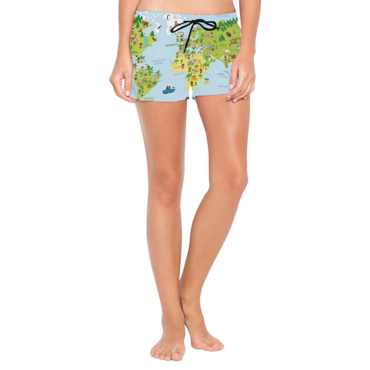 Cooper girl ALAZA Travel World Map Women's Shorts Beach Summer Drawstring Casual Shorts