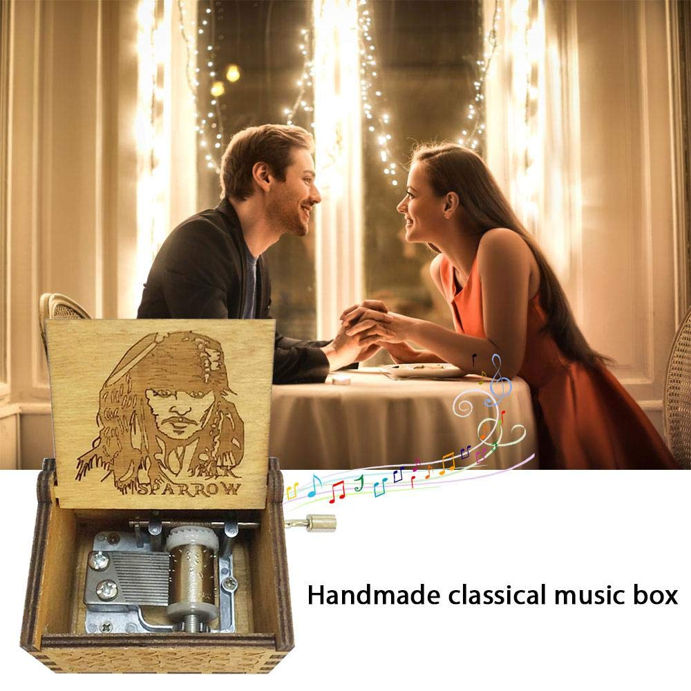 The Godfather Theme -Antique Carved Wooden Music Box for Babies,Toddlers Birthdays Xmas Gift Womdee Mini Hand Crank Music Box 4 Themes