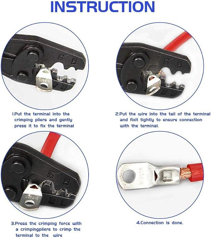 KANOSON 60 Piezas Terminales de Cobre Esta/ñado para Pernos Terminales de Cable de Conexi/ón Terminales de Cable de la Bater/ía Terminales SC Bater/ía de la Boca para Marina Automotriz El/éctrica