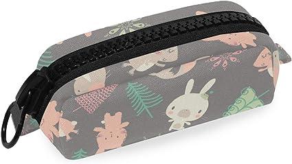 Estuche para lápices con diseño de conejo de dibujos animados retro: Amazon.es: Oficina y papelería