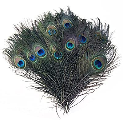 "Trimming Shop 12"" Peacock Eye Tail Feathers Natural Decoration For Arts And Crafts Home Decoration Costumes And Wedding Centerpieces"