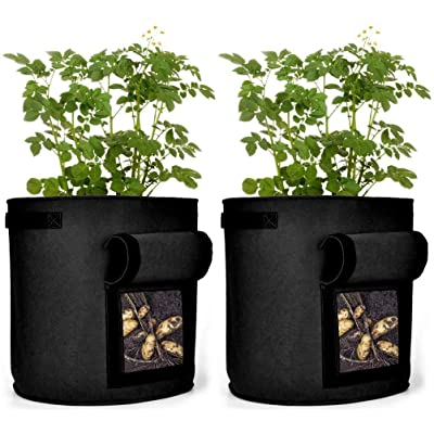 EFAILY 2 Pack 10 Gallon Grow Bags Potato Planter Bag, Strong Planted Barrels with Access Flap and Handles, for Garden Vegetable Potato Tomato Planting : Garden & Outdoor