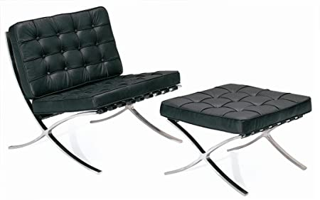 Nice Black Barcelona Chair With Ottoman By Mies Van Der Rohe
