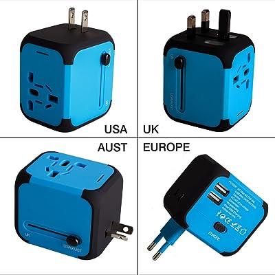 Adaptador Enchufe de Viaje Universal Enchufe Adaptador Internacional con Dos Puertos USB para US EU UK AU acerca de 150 Países y Seguridad de Fusibles para Tableta PC,Smartphones Cámaras Digitales, Reproductores