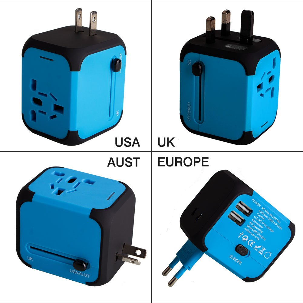 Adaptador Enchufe de Viaje Universal Dos Puertos USB para US EU AU de 150 Países product
