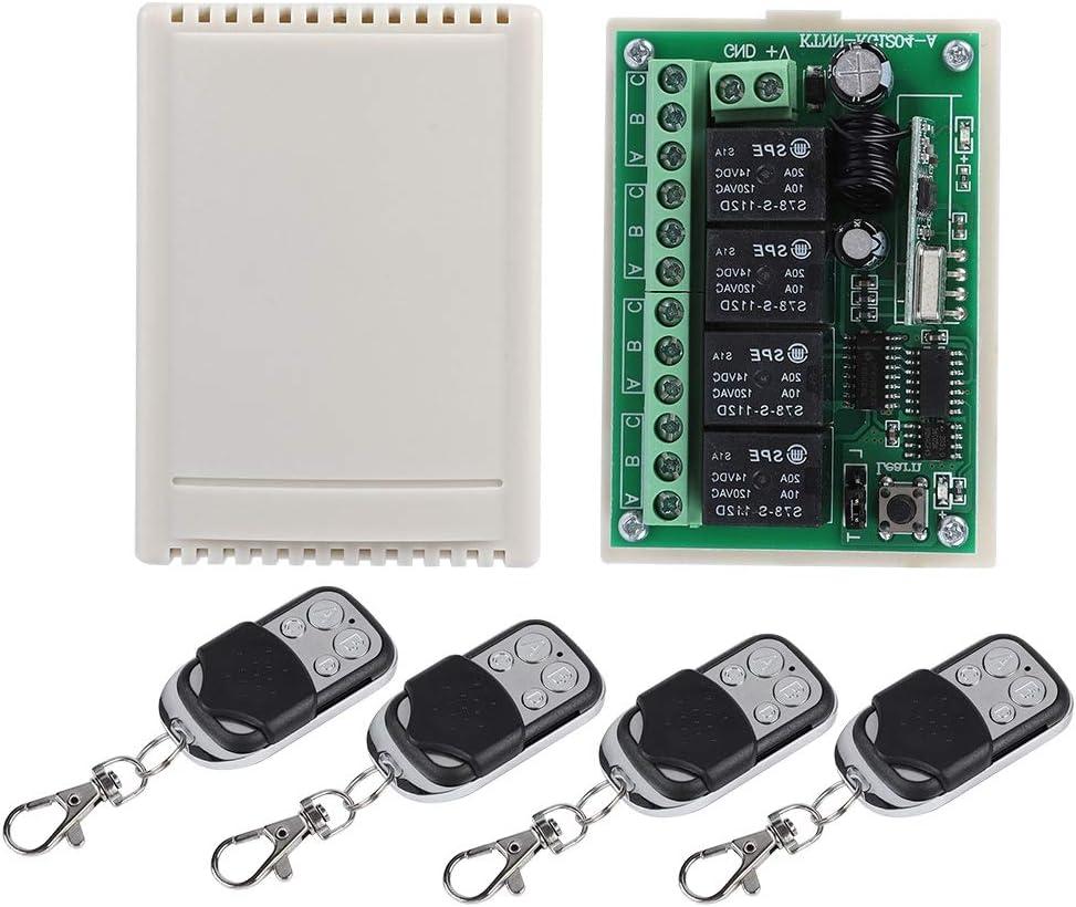 Zerone Interruptor de Mando a Distancia de 4Vías multifunción Sin Hilos con 100Metros de Receptor de Relé A Relé 12V para Todos los Campos