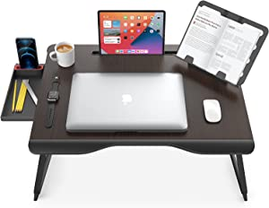 Laptop Desk for Bed, SAIJI X-Large Foldable Bed Tray Table for Eating Breakfast, Writing, Working, Gaming, Drawing with Storage Drawer, Handrest Bookstand, Tablet Stand, Phone Stand(Black Cherry)