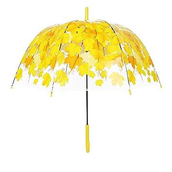 Resistente al Viento claro flor mitad champiñón lluvia paraguas automático, soporte, Amarillo (Yellow